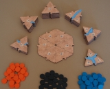Cartography Board Game Wood Edition Starting position with tokens